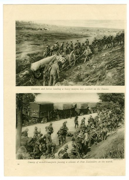 1916 WW1 Print SOMME Heavy Guns HORSES Motor Transport NEW ZEALAND TROOPS